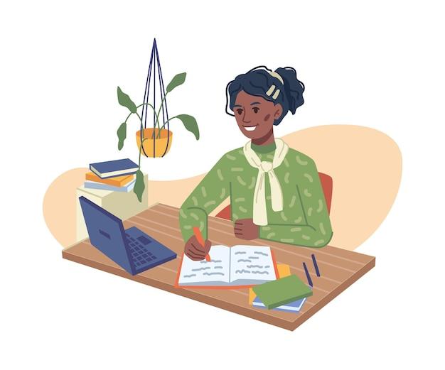 Afro american girl doing homework computer laptop