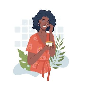 Афро-американская девушка заботится о лице, применяя крем или эфирное масло на травах, вектор чернокожая женщина использует
