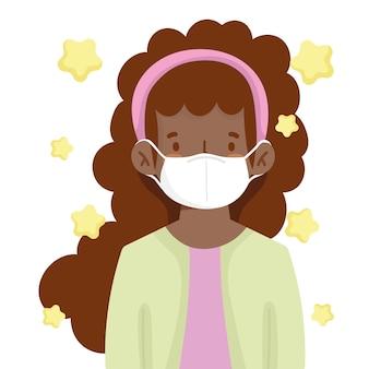 医療用マスクの新しい通常のアフリカ系アメリカ人の女の子