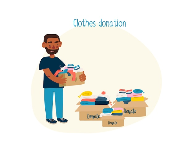 Afro american man with boxes with donation clothes