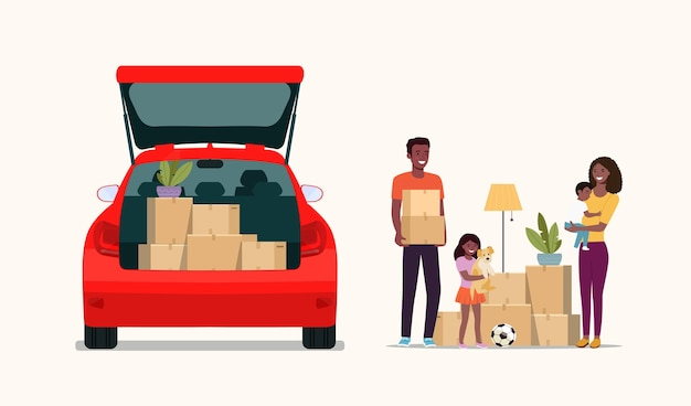 Afro american man, woman  and girl hold boxes. moving house. car with open door.   flat style illustration.