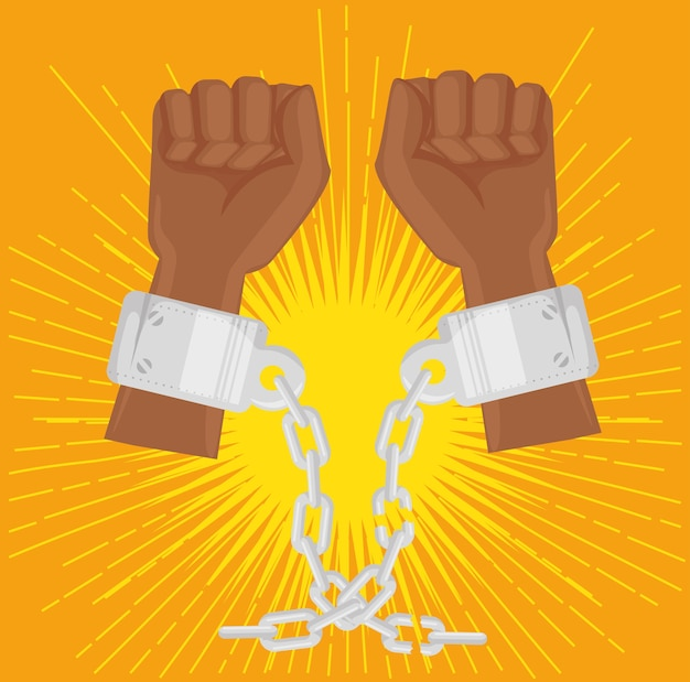 Afro american persons raised hands with chains
