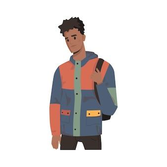 Афро-американский студент с рюкзаком человек в куртке