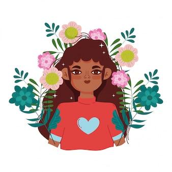 아프리카 미국 여자 만화 꽃 단풍 초상화 벡터 일러스트 레이 션