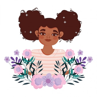 Afro american woman cartoon flowers foliage portrait vector illustration