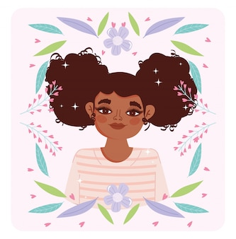 Afro american woman cartoon flowers foliage portrait vector illustration
