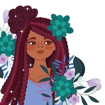 꽃과 나뭇잎 벡터 일러스트와 함께 아프리카 미국 여자 만화