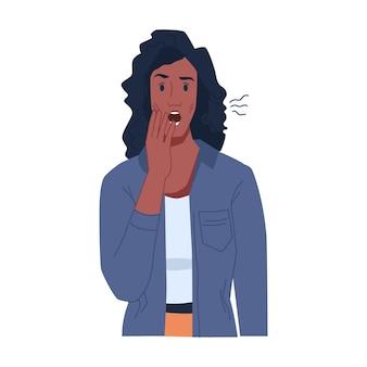 ストレスや不思議な孤立したフラット漫画のキャラクターベクトルの感情を表現するアフリカ系アメリカ人の女性