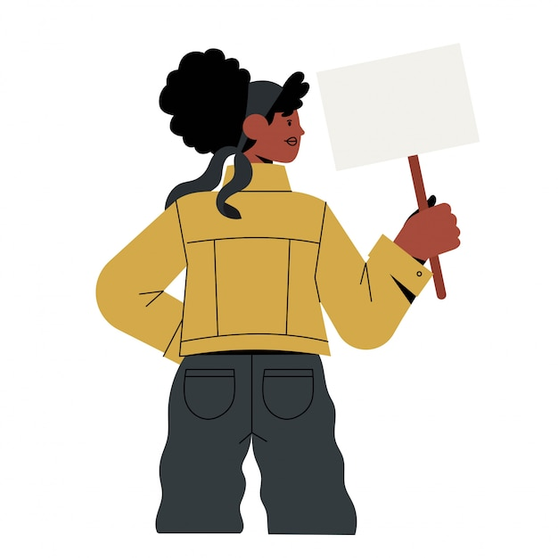 아프리카 미국 여자 잡고 기호입니다.