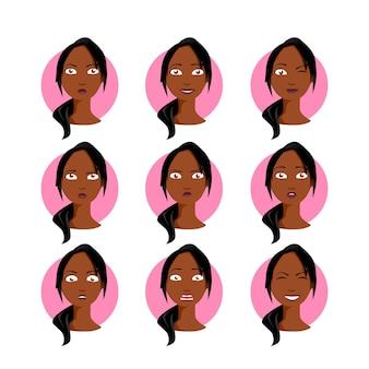 Афро-американская женщина установила иллюстрацию. черная молодая женщина в мультяшном стиле с разными лицевыми эмоциями, выражениями. легко модифицировать. дизайн коллекции персонажей.