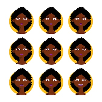 Afro american woman vector set illustration. black female in cartoon style with different facial expressions, emotions with curly hair. character collection design.
