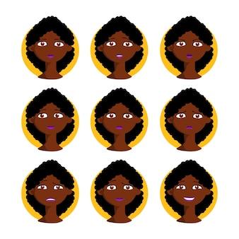 Афро-американская женщина вектор набор иллюстрации. черная женщина в мультяшном стиле с разными выражениями лица, эмоциями с вьющимися волосами. дизайн коллекции персонажей.