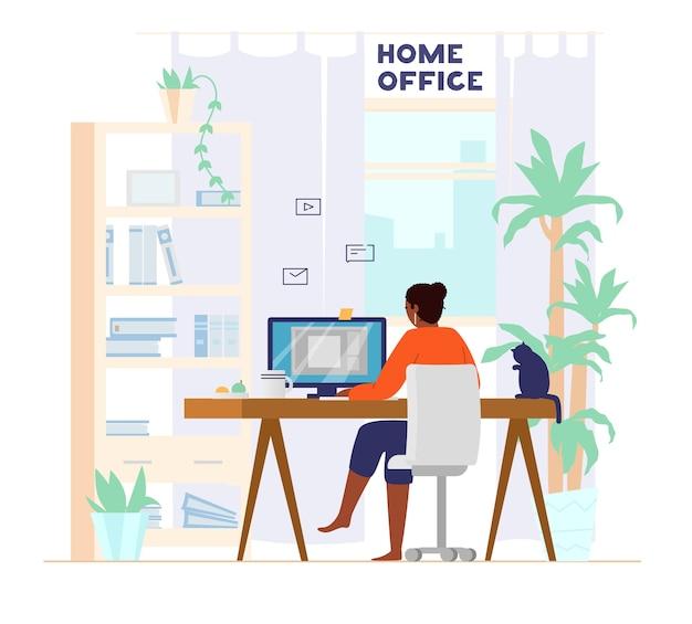 自宅の背面ビューからコンピューターで働くアフロアメリカンの女性。ホームオフィスのインテリア。仕事でフリーランサー。図。