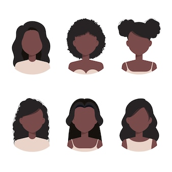 Afro american women collection avatar with differents haircuts and hairstyles
