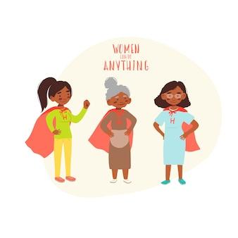 スーパーヒーローのスーツを着たアフリカ系アメリカ人の女性 Premiumベクター