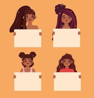 아프리카 미국 젊은 여성 초상화 보드를 들고