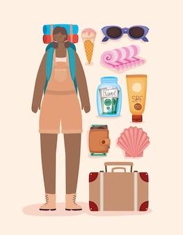 アフロバックパッカーの女性と旅行の要素