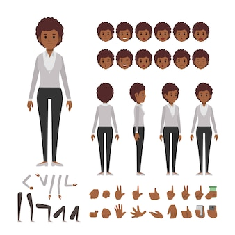 Afro business woman character set