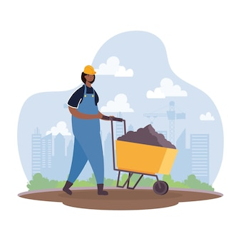 Afro constructor worker with wheelbarrow character vector illustration design