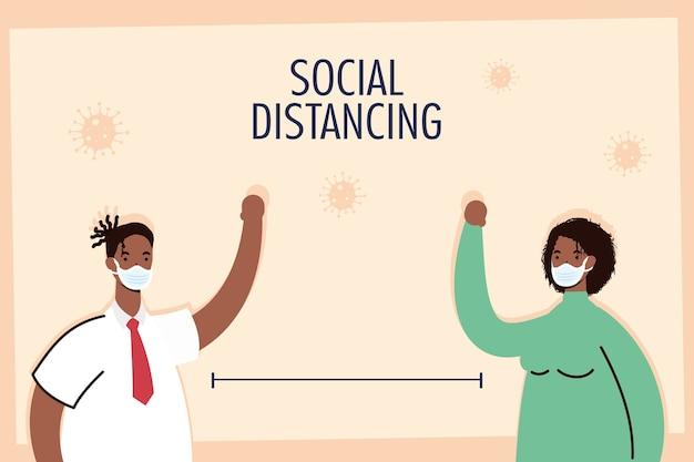 Афро-пара, практикующая социальное дистанцирование
