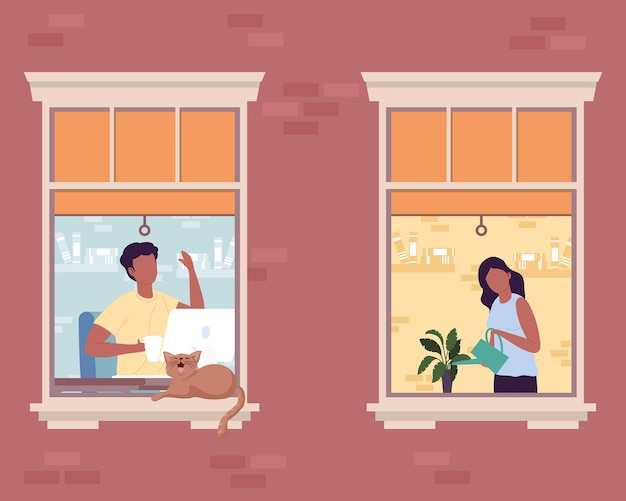 Afro couple in windows
