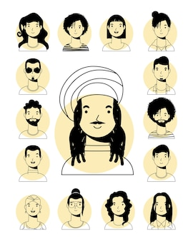 Афро-этнический мужчина в ямайской шляпе и межрасовые люди в стиле векторной линии