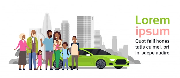 Afro family with green car banner template
