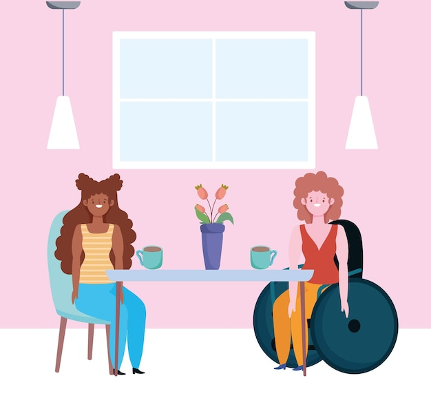 Afro girl and disabled girl sitting in a wheelchair, meeting people inclusion  illustration