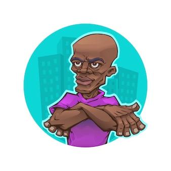 Afro man in cartoon style