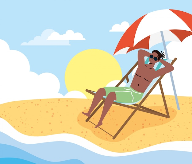 ビーチの夏の休暇シーンのアフロ男