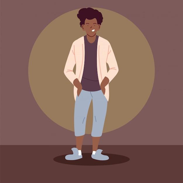 カジュアルな服を着ているアフロ男