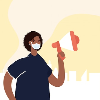 Afro man wearing medical mask protesting with megaphone illustration