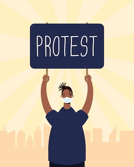 Afro man wearing medical mask protesting with placard illustration