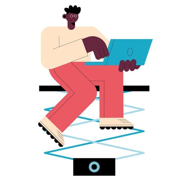 Афро-мужчина с характером технологии ноутбука