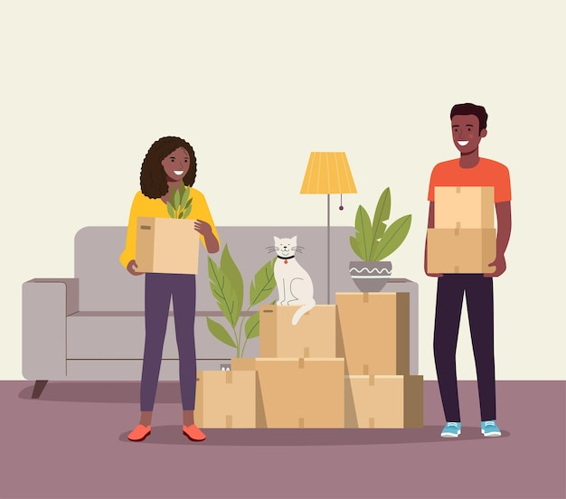 Afro man and woman hold boxes in the living room. moving house. vector illustration