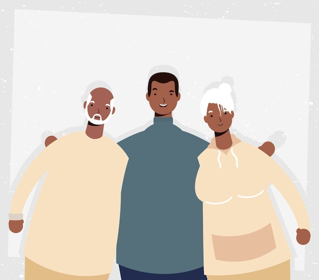 Afro old parents couple with man characters