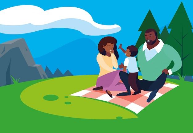 자연 풍경에 아들 가족과 함께 아프리카 부모
