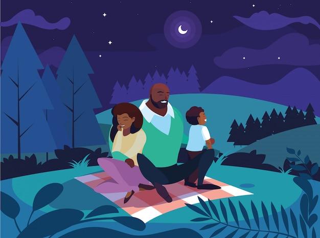 밤 풍경 자연에서 아들 가족과 함께 아프리카 부모