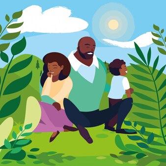 맑은 풍경에 아들 가족과 함께 아프리카 부모