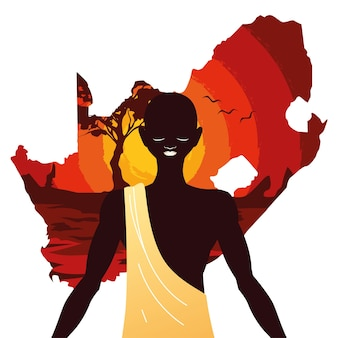 背景イラストで南アフリカの地図を持つアフロ人