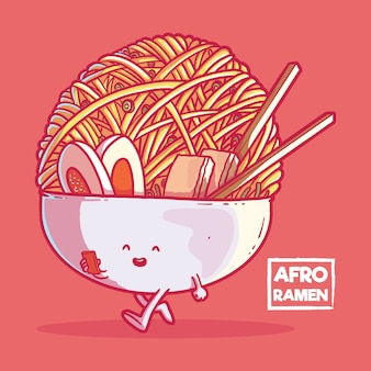 Afro ramen character isolated on red