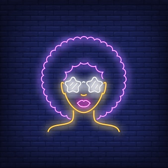 Afro retro girl neon sign