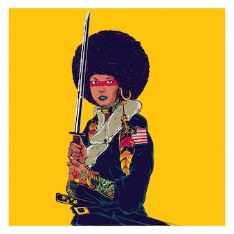 Afro samurai girl