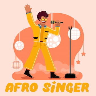 Afro singer concept illustration