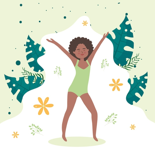 Afro woman cartoon with hands up and leaves