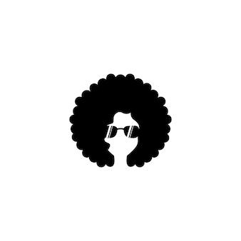 Афро женщина значок иллюстрации дизайн шаблона