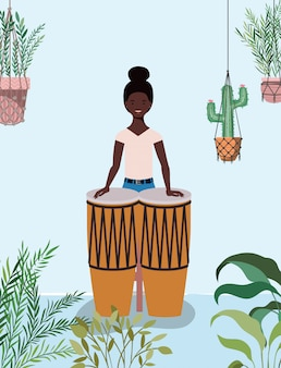Afro woman playing bongos character