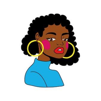 Афро женщина значок стиля поп-арт