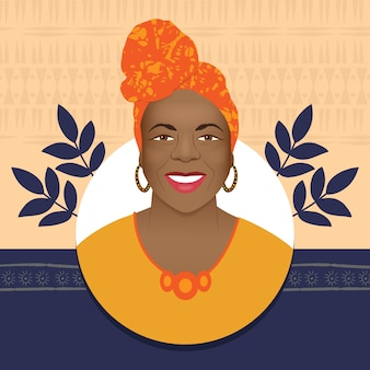 Afro woman smiling