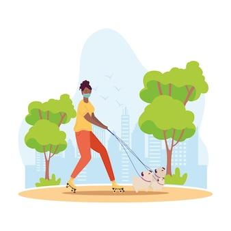 犬の野外活動風景イラストデザインとスケートで医療マスクを身に着けているアフロ女性